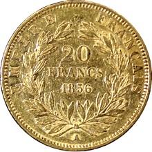Zlatá mince 20 Frank Napoleon III. 1856 A