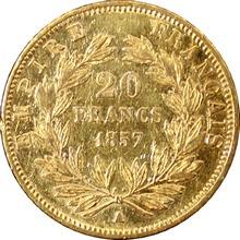 Zlatá mince 20 Frank Napoleon III. 1857 A