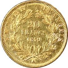 Zlatá mince 20 Frank Napoleon III. 1859 A