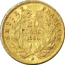 Zlatá mince 20 Frank Napoleon III. 1860 A