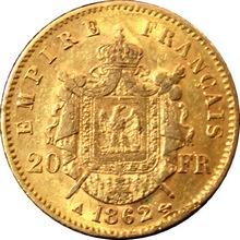 Zlatá mince 20 Frank Napoleon III. 1862 A