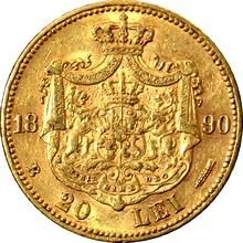 Zlatá mince 20 Leu Karel I. Rumunský 1890