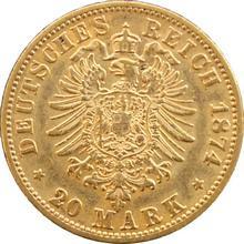 Zlatá mince 20 Marka Vilém I. Pruský 1874