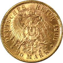 Zlatá mince 20 Marka Ota I. Bavorský 1900