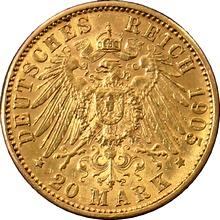 Zlatá mince 20 Marka Ota I. Bavorský 1905