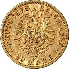 Zlatá mince 20 Marka Vilém I. Pruský 1887