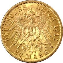 Zlatá mince 20 Marka Vilém II. Pruský 1913