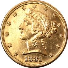 Zlatá mince 5 Dolar American Eagle Liberty Head 1881