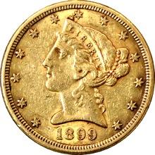 Zlatá mince 5 Dolar American Eagle Liberty Head 1899