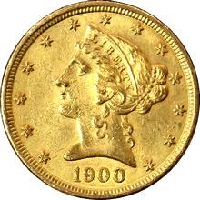 Zlatá mince 5 Dolar American Eagle Liberty Head 1900