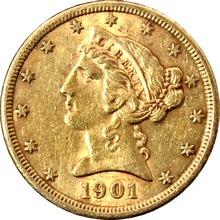 Zlatá mince 5 Dolar American Eagle Liberty Head 1901