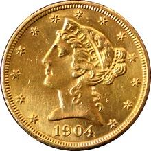 Zlatá mince 5 Dolar American Eagle Liberty Head 1904