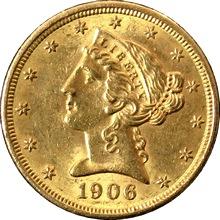 Zlatá mince 5 Dolar American Eagle Liberty Head 1906