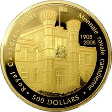 Zlatá mince 5 Oz Kanadská královská mincovna 100. výročí 2008 Proof
