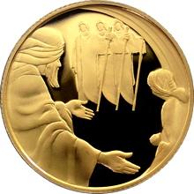 Zlatá mince Abrahám a tři andělé 10 NIS Izrael Biblické umění 2006 Proof