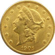 Zlatá mince American Double Eagle Liberty Head 1901
