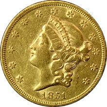 Zlatá mince American Double Eagle Liberty Head 1851