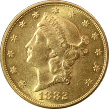 Zlatá mince American Double Eagle Liberty Head 1882