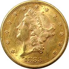 Zlatá mince American Double Eagle Liberty Head 1883
