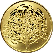 Zlatá mince Hořící keř 10 NIS Izrael Biblické umění 2004 Proof
