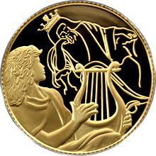 Zlatá mince David hraje Saulovi 10 NIS Izrael Biblické umění 2013 Proof