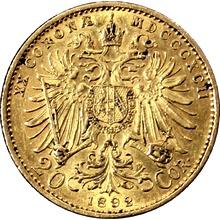 Zlatá mince Dvacetikoruna Františka Josefa I. Rakouská ražba 1892