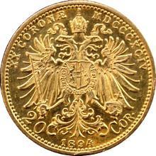 Zlatá minca Dvadsaťkorunáčka Františka Jozefa I. Rakúská razba 1894