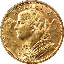 Zlatá mince 20 Frank Helvetia - Vreneli 1913