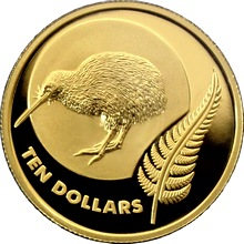 Zlatá minca Ikony Nového Zélandu 1/4 Oz Kiwi 2011 Proof