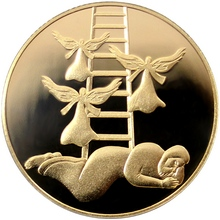Zlatá mince Jákobův sen 10 NIS Izrael Biblické umění 2014 Proof