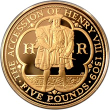 Zlatá mince Jindřich VIII. Tudor Nástup na trůn 500. výročí 2009 Proof
