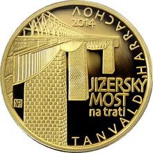 Zlatá mince 5000 Kč Jizerský Viadukt na trati Tanvald - Harrachov 2014 Proof