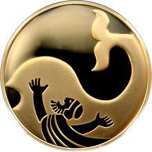 Zlatá mince Jonáš a Velryba 10 NIS Izrael Biblické umění 2010 Proof