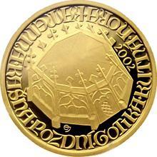 Zlatá minca 2000 Kč Kašna Kutná Hora Pozdná Gotika 2002 Proof