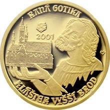 Zlatá minca 2000 Kč Klášter Vo Vyššom Brode Raná Gotika 2001 Proof