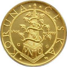 Zlatá minca 2500 Kč Tolar moravských stavov 1996 Štandard