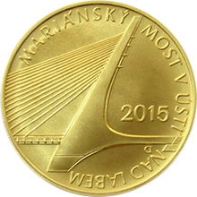 Zlatá minca 5000 Kč Mariánský most v Ústí nad Labem 2015 Štandard