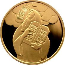 Zlatá mince Mojžíš a desatero přikázání 10 NIS Izrael Biblické umění 2005 Proof