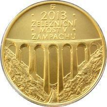 Zlatá minca 5000 Kč Železničný most v Žampachu 2013 Štandard