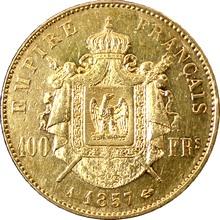 Zlatá mince 100 Frank Napoleon III. 1857 A
