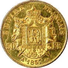 Zlatá mince 50 Frank Napoleon III. 1857