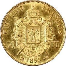 Zlatá mince 50 Frank Napoleon III. 1859 BB