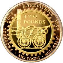Zlatá mince Parní lokomotiva 200. výročí 2004 Proof