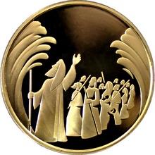 Zlatá mince Rozestoupení Rudého moře 10 NIS Izrael Biblické umění 2008 Proof