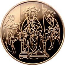 Zlatá mince Šalamounův soud 10 NIS Izrael Biblické umění 1995 Proof