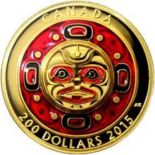 Zlatá minca Zpievajúca mesačná maska Ultra high relief 2015 Proof (.99999)