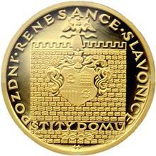 Zlatá minca 2000 Kč Štíty Domov ve Slavoniciach Pozdná Renesancia 2003 Proof