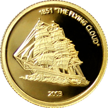 Zlatá mince 1851 The Flying Cloud Miniatura 2003 Proof