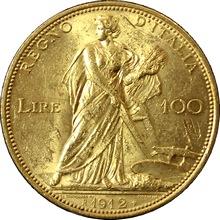 Zlatá mince 100 Lira Viktor Emanuel III. 1912