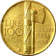 Zlatá mince 100 Lira Viktor Emanuel III. 1923